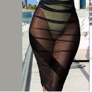 Dresses & Skirts - Black sheer pencil skirt mesh fishnet long sheath